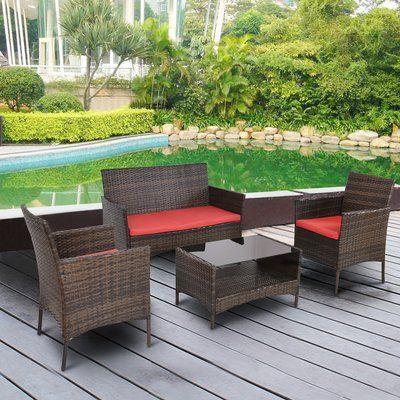 Bay Isle Home Jasmin Outdoor Patio 4 Piece Rattan Sofa Seating