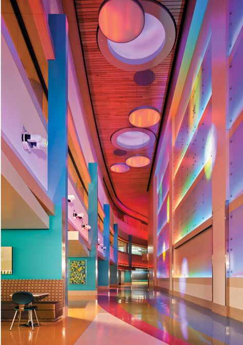 Resilient Flooring in Phoenix Children's Hospital Expansion Completed: 2011 Architect: HKS Healthcare Architecture, Hospital Architecture, Colour Architecture, Interior Architecture, Interior And Exterior, Interior Design, Lobby Interior, Chinese Architecture, Design Interiors