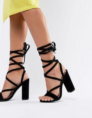 Shop Public Desire Julia Black Block Heel Tie Up Sandals At Asos Discover Fashion Online Tie Up Sandals Tie Up Heels Heels
