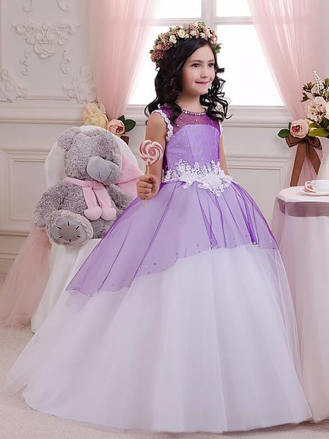 Flower Girl Dresses Ball Gown Tulle Jewel Lilac Long 2019