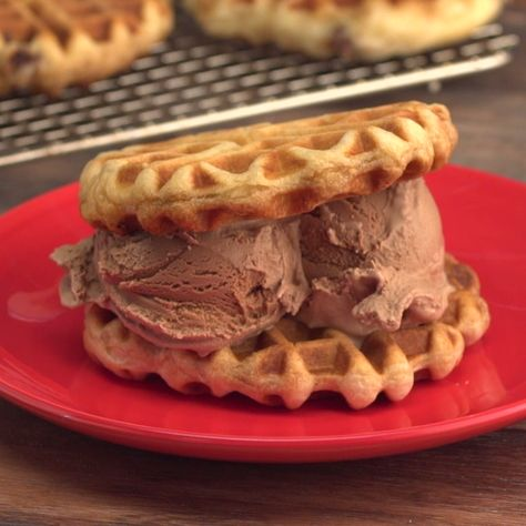 How to make Chocolate Chip Cookie Dough Stuffed Waffle Ice Cream Sandwiches.