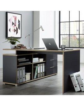 Bureau D Angle Gris Bois Mateo Bureau Angle Bureaux A Domicile Contemporains Bureau Design