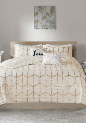 Intelligent Design Raina Coverlet Set In 2020 With Images Gold