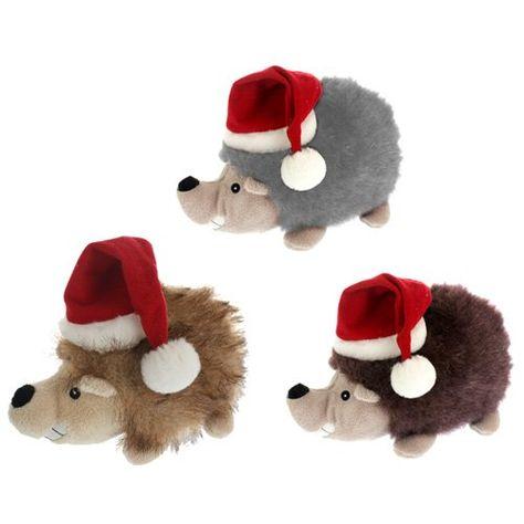15 94 15 84 Multipet Christmas Hedgehog Plush Dog Toy With Santa