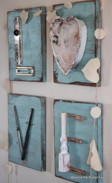 Repurposed Junk Letters -- Beyond the Picket Fence - cute ideas for repurposing unused hardware, flatware, etc.