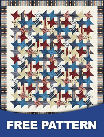 http://www.abbimays.com/Quilt-Kit-TOP-Stars-of-Valor-w-Stonehenge-Strips-Free-Pattern_p_5459.html