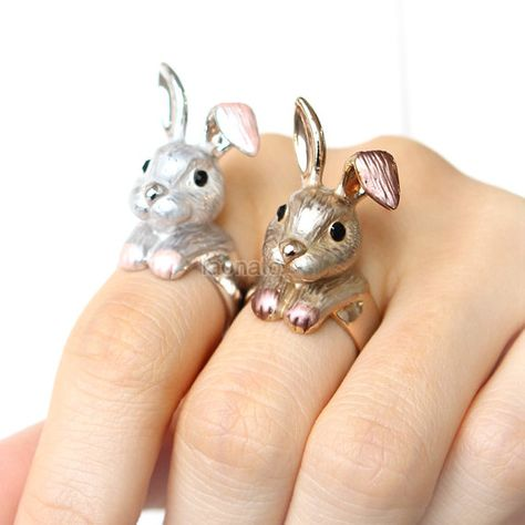 Big Bunny Ring / big rabbit ring, bunny ring, choose your color, gold, silver on Etsy, $17.00