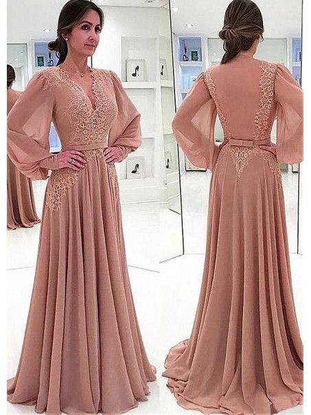 b0ebd588c69da A-line Chiffon V-Neck Long Sleeves Lace Mother of The Bride Dresses ...