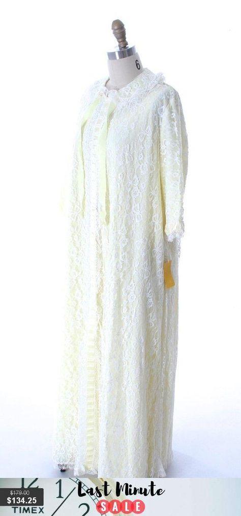 392b2982c3a Odette Barsa VTG Nylon Lingerie Nightgown Robe Set Lace Peignoir Negligee  Yellow L NWT 1960s