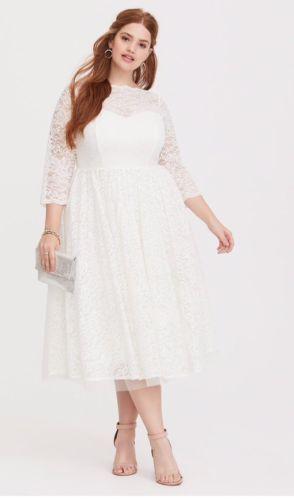 Plus Size 20 Torrid Special Occasion White Lace Midi Wedding Dress Plussizespecialoccasiondressgowns White Lace Midi Dress Lace White Dress Midi Wedding Dress