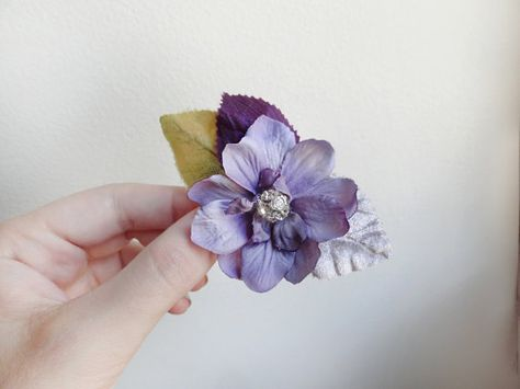 "3/"" Purple Violet Ranunculus Silk Flower Hair Clip Wedding Bridesmaid Prom Party"