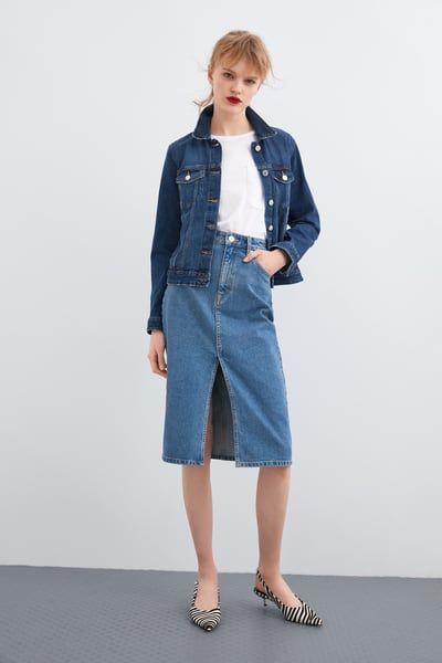 ZARA Female Denim midi skirt Blue L   Denim skirt