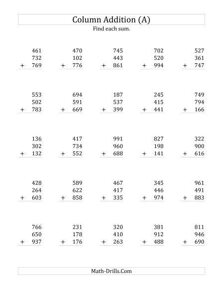 Adding Three Three Digit Numbers Addition Worksheets