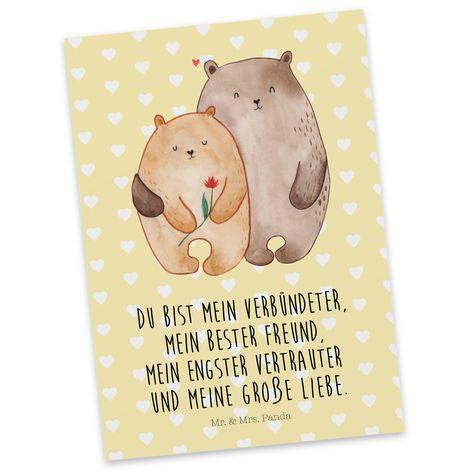Postkarte Bären Liebe aus Karton 300 Gramm  weiß - Das Original von Mr. & Mrs. Panda.  Jedes wunderschöne Motiv auf unseren Postkarten aus dem Hause Mr. & Mrs. Panda wird mit viel Liebe von Mrs. Panda handgezeichnet und entworfen.  Unsere Postkarten werden mit sehr hochwertigen Tinten gedruckt und sind 40 Jahre UV-Lichtbeständig. Deine Postkarte wird sicher verpackt per Post geliefert.    Über unser Motiv Bären Liebe  Das Gefühl verliebt zu sein und seinen Verbündeten gefunden zu haben ist unbez