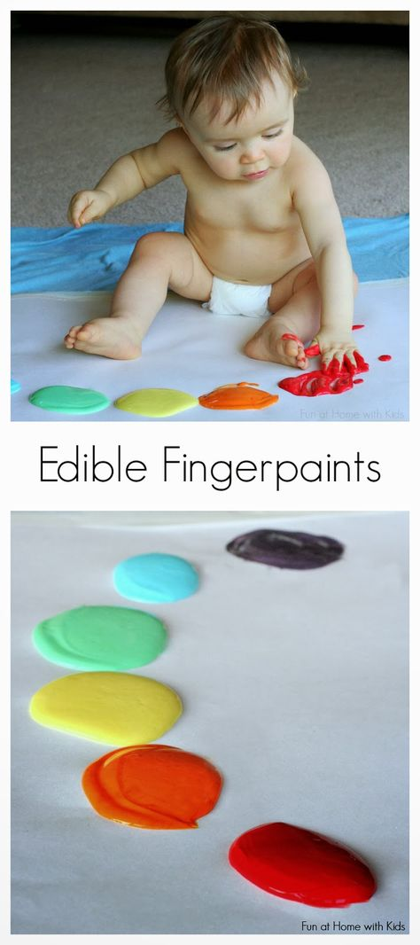 Scented Edible No-Cook Fingerpaint Recipe for Babies and Toddlers from Fun at Home with Kids- interesting to see if they use dyes or not