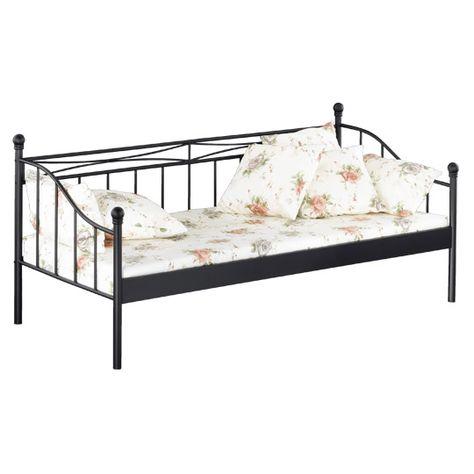Reality Bett Linda 90 Schwarz Lackiertes Metall Tagesbett Ausziehbett Tagesbett Bett