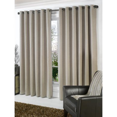 One Pair Of JEFF BANKS Light Grey Zig-Zag Design Mexico Eyelet Lined Curtains