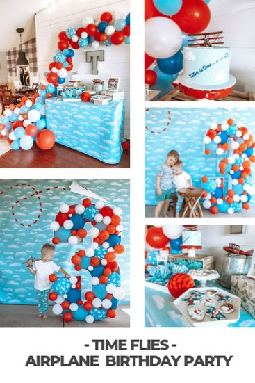 Time sure flies! Planning an airplane party and want to wow your guests? Check out how we focused on a few main decor pieces to make this airplane birthday party take off. Boy First Birthday, 4th Birthday Parties, Birthday Party Decorations, Theme Parties, Birthday Ideas, Helicopter Birthday, Planes Birthday, Airplane Party, Airplane Cakes