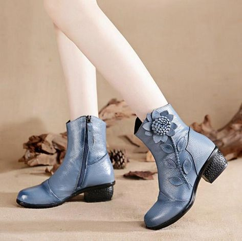 0a7cb8037 LoverMalls Women's Boots Mother Folk Style Winter Ankle Boots Vintage Women  Genuine Leather Boots