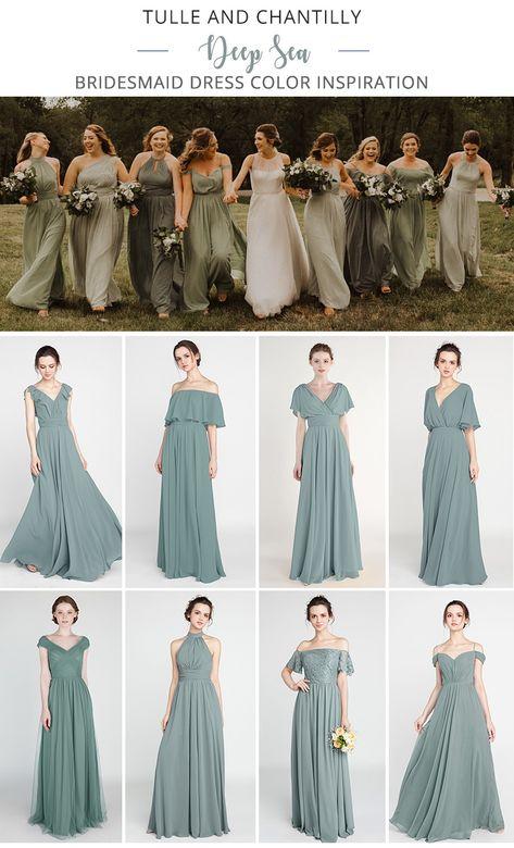 Tulle and Chantilly Deep Sea Bridesmaid Dresses 2019 # Wedding Inspiration . tulle and chantilly deep sea bridesmaid dresses 2019 tulle and chantilly deep sea bridesmaid dresses 2019