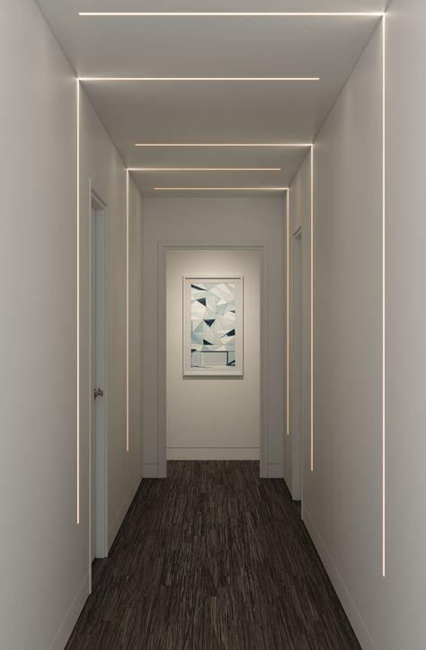 Led Hallway Lighting, Linear Lighting, Living Room Lighting, Strip Lighting, Cove Lighting Ceiling, Modern Recessed Lighting, Corner Lighting, Staircase Lighting Ideas, Hallway Ceiling