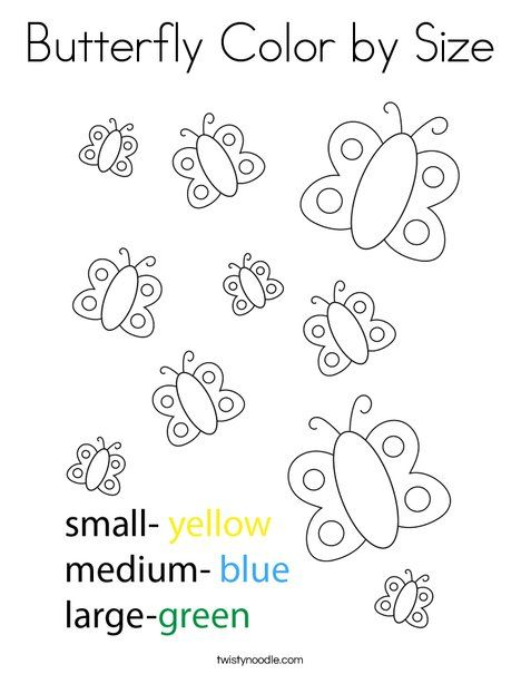 Butterfly Color By Size Coloring Page Twisty Noodle Coloring Pages Colorful Butterflies Activities For 1 Year Olds