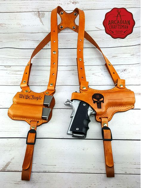 """Items similar to Handmade """"We The People"""" 1911 Shoulder Holster with Magazine Carrier Custom sizes available, shoulder Rig on Etsy 1911 Holster, Pistol Holster, Airsoft, Custom Leather Holsters, Mode Steampunk, Leather Projects, Firearms, Shotguns, Revolvers"""