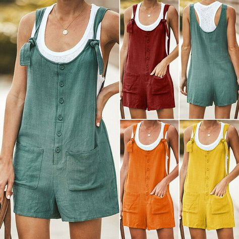 UK Summer Womens Button Pocket Linen Jumpsuit Dungarees Shorts Playsuit Overalls