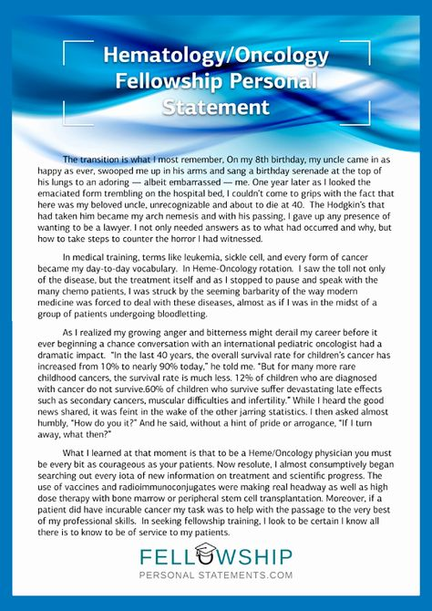 Personal Statement For Fellowship Unique Hematology Cology Writing Tip Mission Nurse Cover Oncology Pediatric