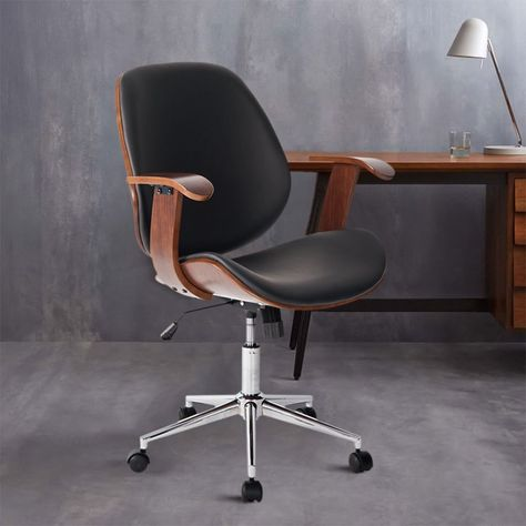 Life Carver Modern Wooden Frame Leather Padded Executive Desk Chair Pc Computer Office Chair Armchair Black Walnut Office Furniture Set Home Office Furniture