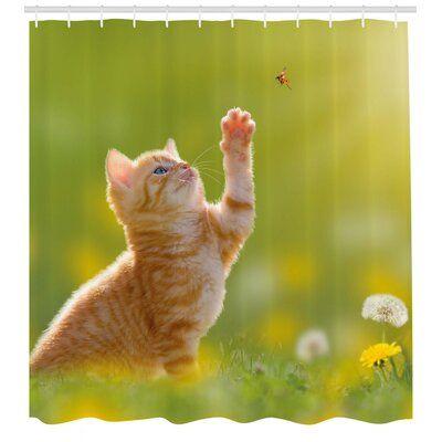 East Urban Home Cat Shower Curtain Set Hooks In 2020 Cat Shower Curtain Shower Curtain Sets Vinyl Shower Curtains
