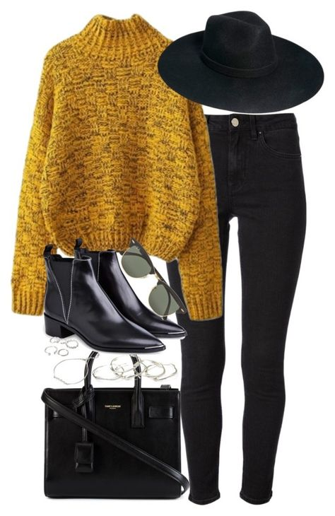 Stylish & Comfy Outfit with Black Skinny Jeans for Winter with colorful knit jumper, hat and black ankle boots A fashion look from August 2015 by roxy-camarena featuring Acne Studios, Yves Saint Laurent, Emily Amey Jewelry, Forever Ray-Ban and ASOS Mode Outfits, Casual Outfits, Fashion Outfits, Womens Fashion, Fashion Boots, Petite Fashion, Curvy Fashion, Fashion Clothes, Fashion Accessories