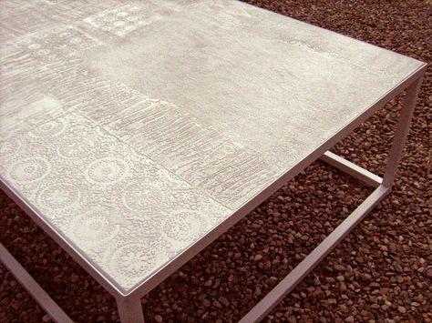 Tavoli Da Giardino Decorati.Tavolo Da Giardino In Micro Cemento E Resina Decorazione A