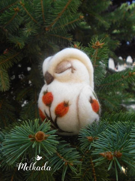 Owl decoration - Handcrafted needle felted owl - owl sculpture