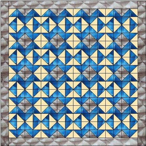The fools puzzle quilt pattern uses three colours and is a really striking design - no need to rotate the blocks as there was so much pattern already