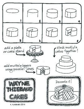 Step by step instruction of how to create cakes like Wayne Thiebaud. This is a fun project for all ages and can be developed even further with oil pastels, pastels or paint! Elementary Art Projects, Kids Art Projects, Art Handouts, Drawing Lessons, Wayne Thiebaud, Camping Art