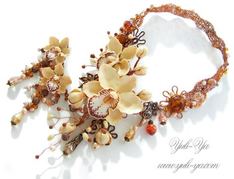 So pretty and realistic orchid polymer clay jewelry. Caramel Orchids by Yuli-Ya