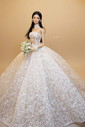 Ooak Ficondoll Nhu By Aquatalis Doll Wedding Dress Barbie Wedding Dress Barbie Bridal