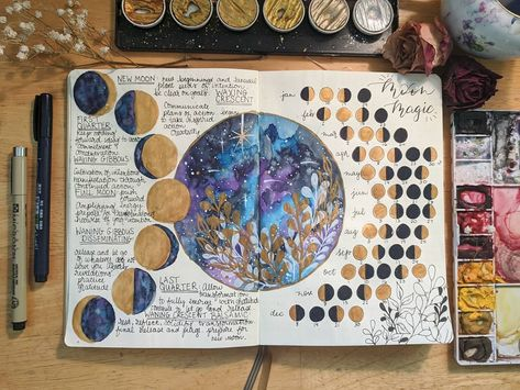 Watercolor Moon Phases for 2020 bullet journal Witchcraft Spell Books, Wiccan Spell Book, Wiccan Spells, Bullet Journal Aesthetic, Bullet Journal Ideas Pages, Bullet Journal Inspiration, Magic Bullet Recipes, Baby Witch, Moon Magic