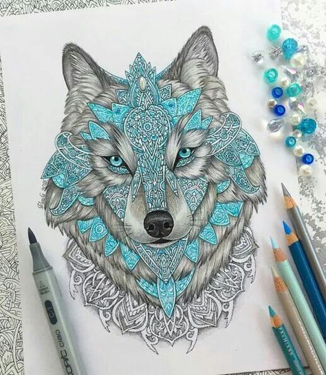 Very pretty. I need a tattoo with this blue in it, but I'm not feelin the wolf.