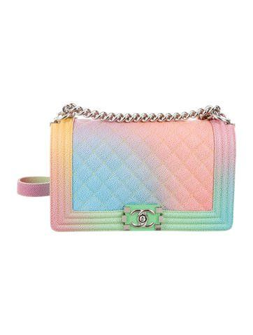 e8ce702d3fc0 Pink and multicolor quilted Caviar leather Chanel Rainbow Medium Boy bag  with silver-tone hardware, chain-link shoulder strap with leather shoulder  guard, ...