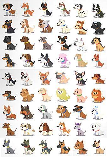 Fiomia Dogs Temporary Tattoo cartoon Sticker Face Decal Body Glitter ...