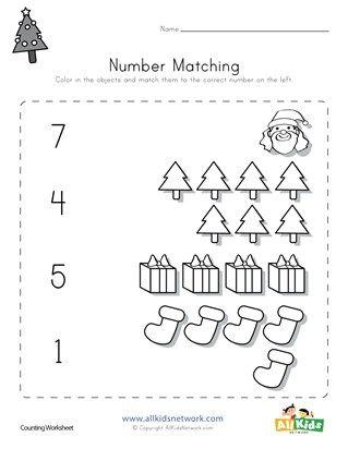 Christmas Number Matching Worksheet Preschool Worksheets Kids Worksheets Printables Christmas Worksheets Christmas worksheets matching words pictures