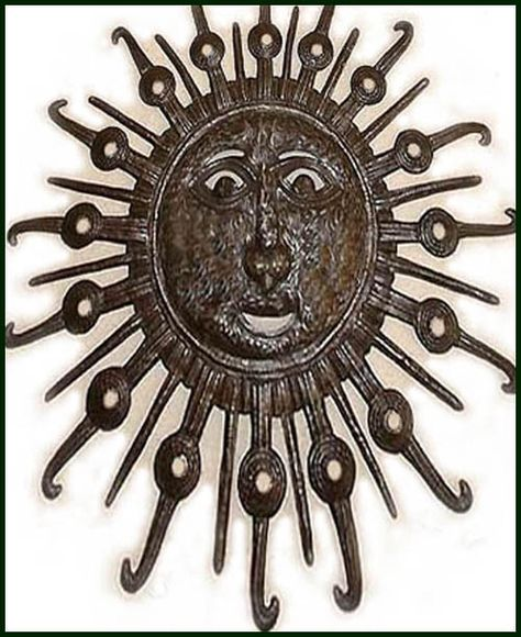 "Large Decorative Sun Wall Hanging - Steel Art from Haiti - 24""x 34"" $114.95 -  Steel Drum Metal Art from  Haiti - Interior or Garden Décor   * Found at  www.HaitiMetalArt.com"