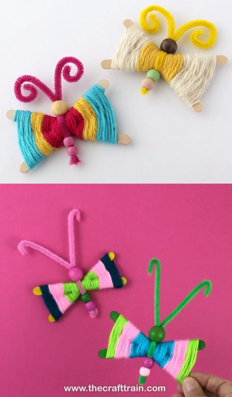 Make craft stick butterflies using a simple god's eye weaving pattern. This is a great Spring or Summer craft idea for older kids – what colours will you make your butterfly? Full step-by-step instructions on the blog #butterflies #colour #yarn #craftsticks #weaving #godseye #kidscrafts #spring #springcrafts #campcrafts