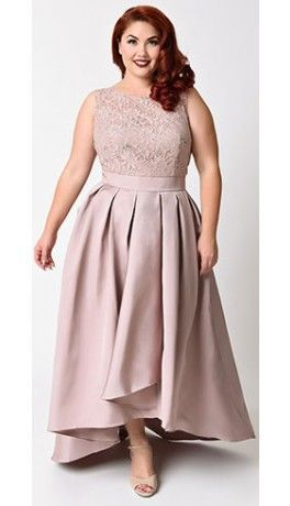 Plus Size Mocha Lace Pleated High Low Dress For Prom 2017 in ...
