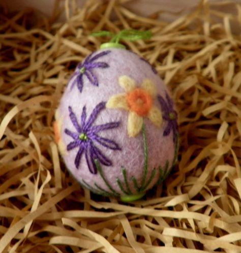 felted easter egg  felt spring flower egg  daffodil felt egg  spring decoration felted and embroidered easter egg