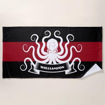 Swim Team Sports Octopus Monogram Stripe Red Black Beach Towel