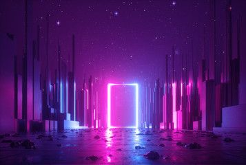3d Abstract Neon Background Cyber Space Virtual Reality Ultraviolet Glowing Frame Portal At The End Neon Backgrounds Virtual Reality Design Virtual Reality