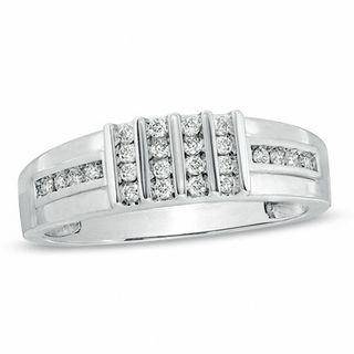 Men S 1 5 Ct T W Diamond Wedding Band In 10k White Gold Wedding Bands Wedding Zales Mens Diamond Wedding Bands Diamond Wedding Bands Mens Wedding Rings